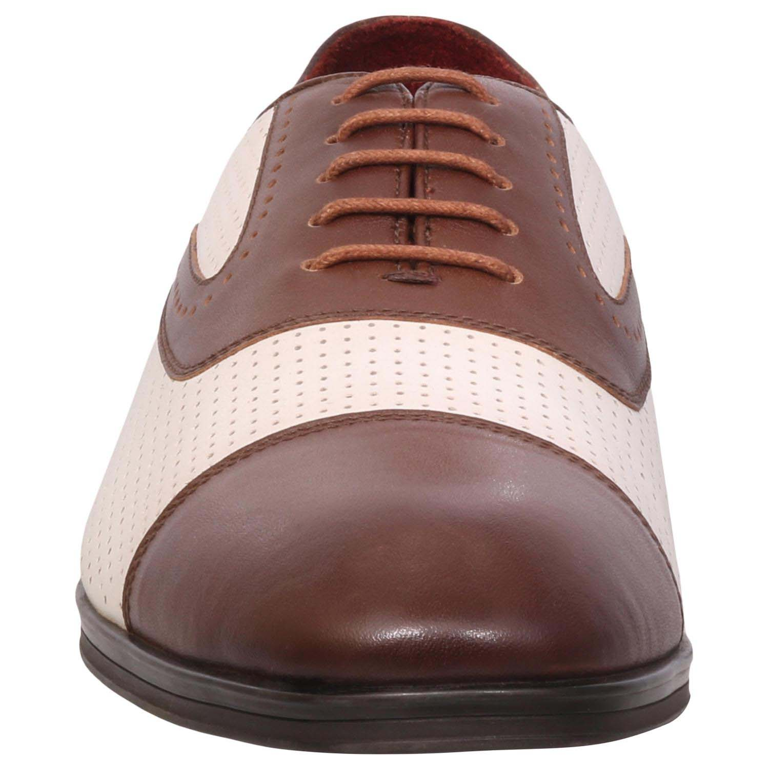 White/Brown Lace-Up Formal Shoes