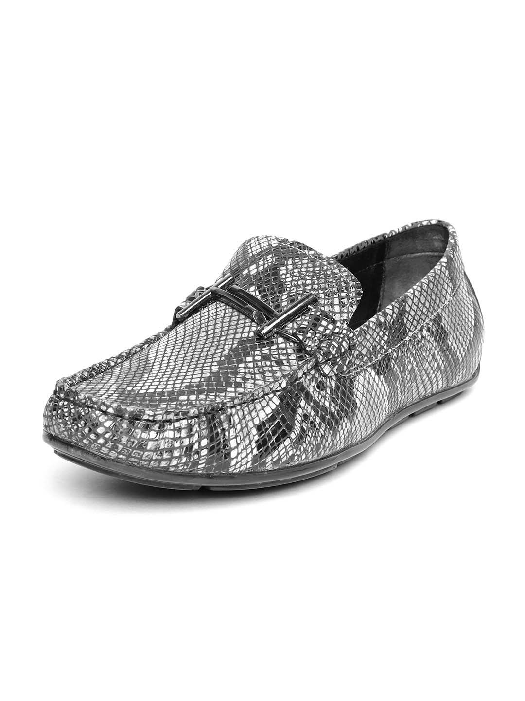 Black Slip-On Python Print Casual Shoes
